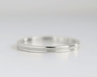 Flat Milgrain 2mm White Gold Wedding Band | Eco friendly Recycled Gold  | Flat Edge Women's 14k 18k White Gold Ring 2mm x 1.3mm thick