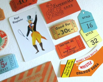 Vintage Carnival Party Favors Packet - Vintage Tickets - Ephemera - Mixed Media - Scrapbooking Kit - Supplies Lot - Bakers Dozen