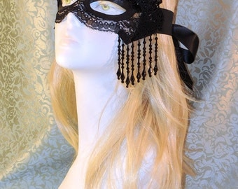 Elegant One of a Kind Black Lace Mask with beaded fringe and appliques