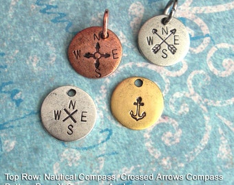 Nautical Charm. Compass Tag. Arrows, Anchor. Antiqued Metal Round Circle Disc. Customize Your GPS Latitude Longitude Keychain Necklace Gift