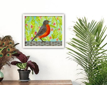 Bird Print, Robin, Gallery Wall Art, Audubon Print, Nature