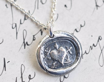 heart, cross, anchor wax seal necklace … faith hope charity - silver artisan pendant - antique Russian wax seal jewelry