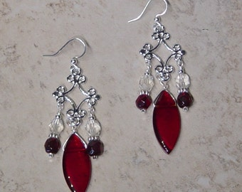 Silver Chandelier Earrings, Red Glass Beads, Dangle Earrings, Silver Beaded Chandelier Earrings, Victorian, Red, Valentine Gift