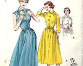 1950's Shirtdress with 3/4 Sleeves or Sleeveless Bust 34 Butterick 5641 Size 16