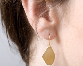 SALE 30% OFF Gold Nugget Earrings, Gold Drop Earrings, Faceted Earrings, Gold Dangle Earrings, Gold Statement Earrings