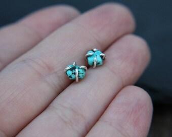 Rough turquoise earrings - sterling silver - turquoise nugget earrings - turquoise stud earrings - minimalist earrings - dainty earrings