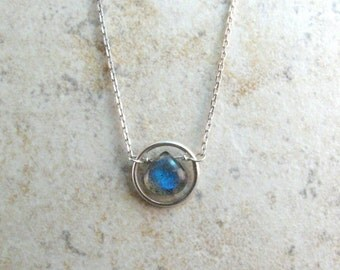 Dainty Labradorite Necklace  - Dainty Circle Link Necklace - Sterling Silver Circle Necklace - Blue Labradorite - Gift for Her
