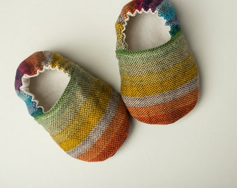 Girasol Rebel Rainbow wrap scrap shoes or booties, baby shoes, babywearing shoes