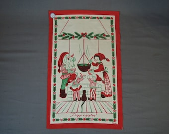 Vintage Christmas Linen Wall Hanging, BoWa Bodil Wallman, Mr. & Mrs. Claus and elves Dopp i grytan, 1960s Swedish Novelty Hand Print