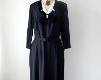 Vintage 1950s Dress - Black Rayon 50s Day to Evening Dress with Shoulder Pads and Velvet Bow