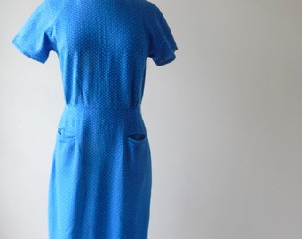 Bleu dress | vintage 1960s dress • blue and turquoise  60s dress