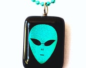 Alien Necklace, Dichroic Glass Jewelry, Green Pendant  Fused Glass, Handmade in USA