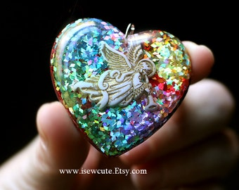 Mother's Day Jewelry - Resin Jewelry, Rainbow Heart Pendant, Angel Necklace, Resin Pendant, Colorful Handmade Resin Pendant by isewcute