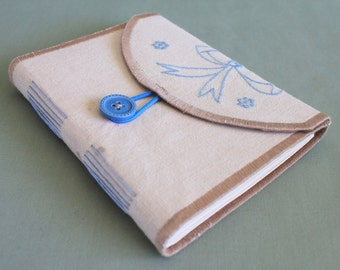 Tea Time Vintage Linen Softcover Embroidered Journal 02 by PrairiePeasant