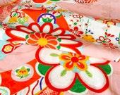Vintage Japanese Kimono Fabric - Edo Blossoms on Candy Pink