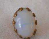 Oval ANTIQUE Opalescent Glass Jewelers Shank Waistcoat BUTTON