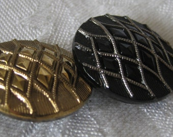 Set of 2 VINTAGE Gold Luster & Silver Tinted Lattice Black Glass BUTTONS