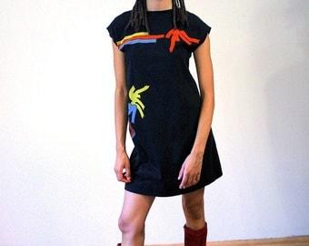 Razmatazz, 80s T-shirt Dress, Black Color Splash Cotton Mini Dress, Mod Tshirt Dress, Modern Art Dress, Rave 80s Mini Dress, S M
