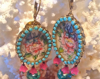 Lilygrace Japanese Tattoo Peony and Butterfly Handpainted Cameo Earrings with Vintage Glass Beads and Turquoise Beads