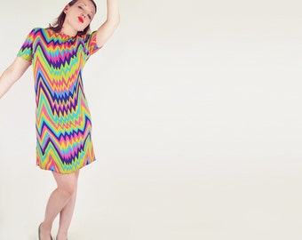 60s Vera Maxwell Bright Psychedelic Zigzag Mod Mini Dress  M