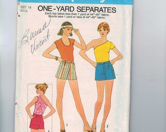 1970s Vintage Sewing Pattern Simplicity 8037 Misses One Yard Separates Shorts Top Stretch Knit One Shoulder Size 14 Bust 36 1977 70s  99