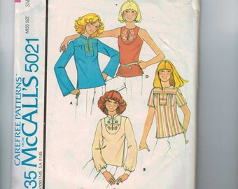 1970s Vintage Sewing Pattern McCalls 5021 Misses Set of Ethnic Tunic Tops Size Small 10 12 Bust 32 33 34 Plus 70s 1976 UNCUT  99