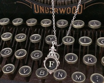 Art Deco Typewriter Key Necklace - Initial F - Historical Charm and Romance - Black and White Key on Silver - Steampunk Chic Twilight
