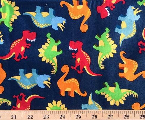 Dinosaur fabric by the yard fat quarter blue red orange for Baby dinosaur fabric
