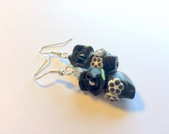Sugar Skull Earrings Dia De Los Muertos Black and White Skull Earrings