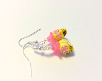 Tiny 10mm Yellow and Pink Day of the Dead Sugar Skull and Flower Earrings