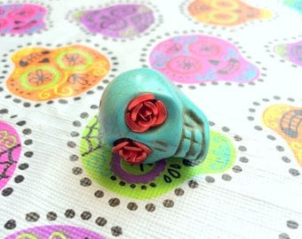 Gigantic Turquoise Howlite Skull Bead or Pendant Red Rose Eyes