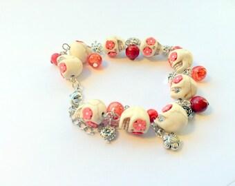Day of the Dead Sugar Skull Adjustable Chain Bracelet Red Flowers