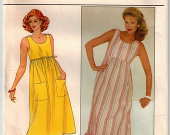 Vintage 80's Misses Dress Sewing Pattern Size 12 Bust 34 Summer Sleeveless Dress Two Lengths Hemline Ruffle Fitted Bodice Patch Pockets