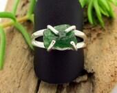 Raw Tsavorite Garnet Ring in Sterling Silver, Vivid Emerald Forest Green Gemstone - Free Gift Wrapping