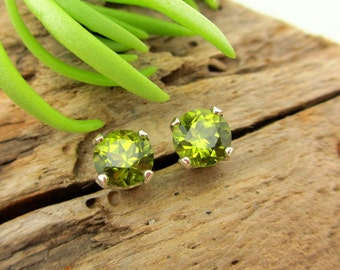 Arizona Peridot Earrings in Gold, or Platinum with Genuine Gems, 5mm - Free Gift Wrapping