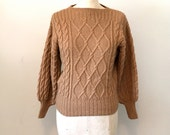 Vintage 70s YSL Baby Alpaca Sweater M Cable Knit Chamoisee Brown Yves Saint Laurent Rive Gauche