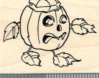 Halloween Pumpkin Rubber Stamp, Walking Jack-O-Lantern J31002 Wood Mounted