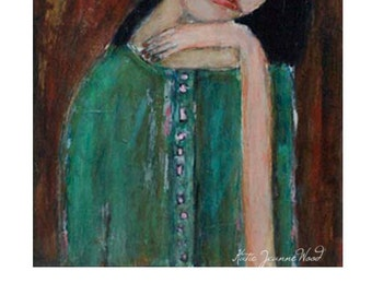 Weary Woman Portrait Painting Print. Tired Woman Portrait. Office Digital Wall Art Print