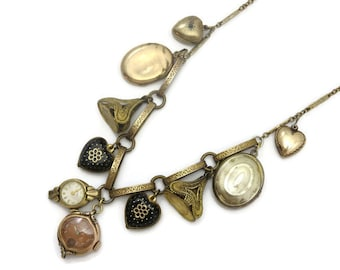 Vintage Charm Necklace - Vintage and Antique Charms, Fobs, Locket Necklace , Puffy Hearts, Watches