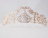 Rose Gold Tiara Crystal Wedding Tiara Filigree Bridal Crown Art Deco Diadem Swarovski Bridal Tiara  SONNET TIARA