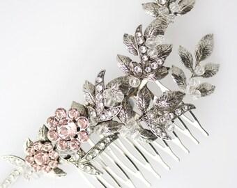 Wedding Comb Blush Pink Crystal Leaf Hair Comb Blush Bridal Hair Comb Blush Wedding Hair Accessories MARYSE