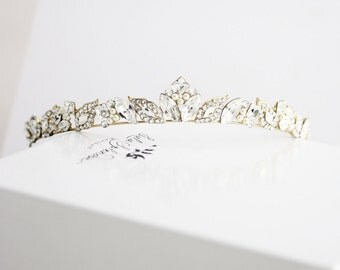 Gold Bridal Tiara Small Wedding Tiara for Bride Swarovski Crystal Bridal Wedding Crown Gold Leaf Crown Handmade Rhinestone Tiara AGGIE TIARA