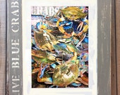 "14.25""x17.50"" Distressed Framed Crab Art ""Live Blue Crabs""  Signed and Numbered"