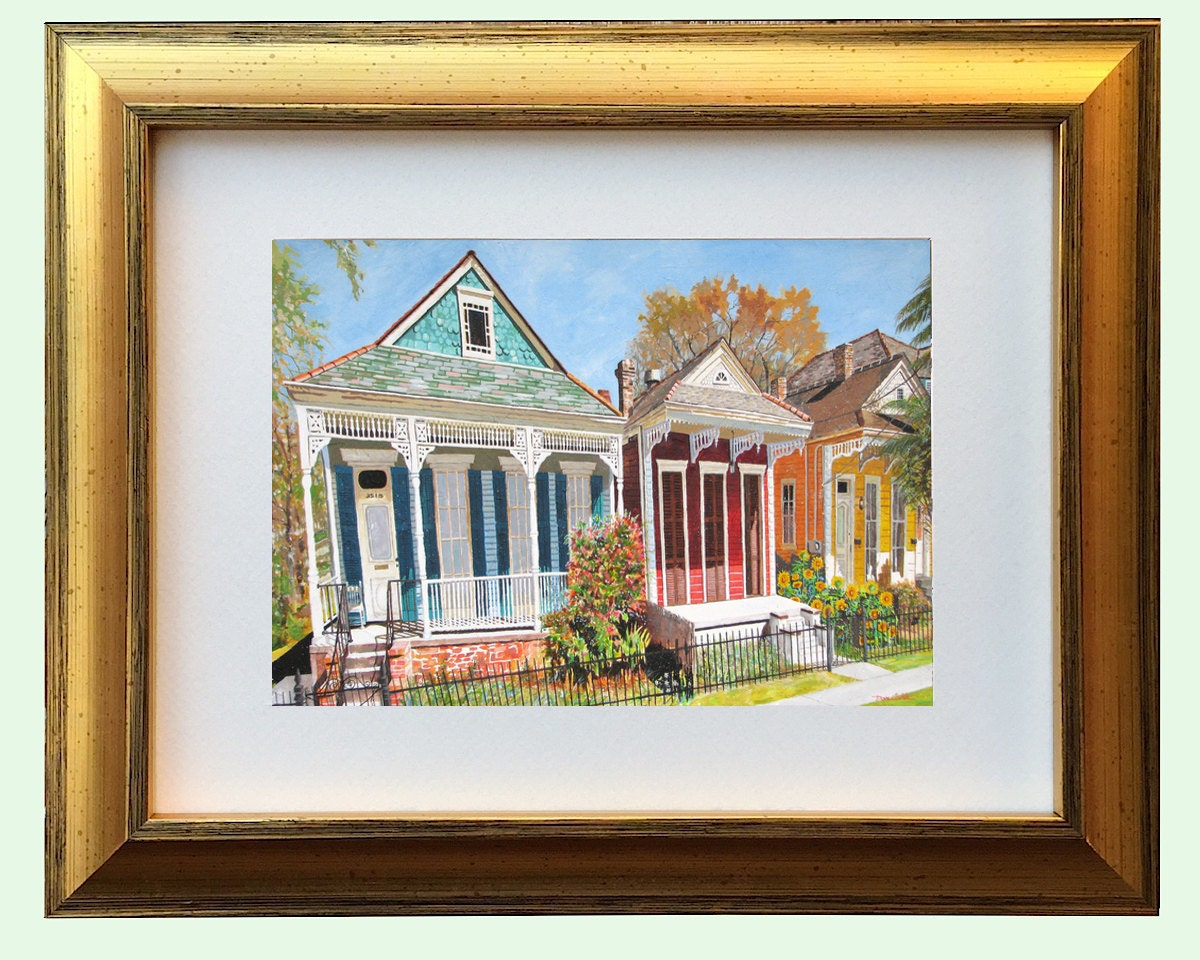 New Orleans Antique Gold Framed Shotgun House Art Nola