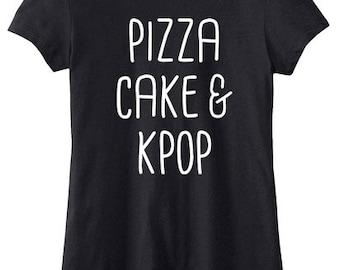 Pizza Tshirt Kpop Shirt - Pizza Cake and Kpop - kawaii k-pop clothing kdrama fandom cute music gift
