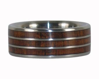 Triple Dark Koa Titanium Wide Ring Band