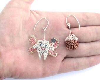 SALE Tooth fairy and cupcake mismatched earrings - food earrings, fairys, crochet wire, sterling silver, cute jewelry, unusual ooak jewelry