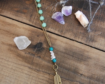 Amazonite and Quartz Feather Necklace