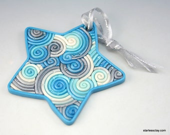 Star Ornament in Turquoise and Silver Polymer Clay Filigree