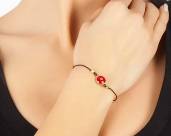 Red Evileye Bracelet In Gold Coated Silver with black thread